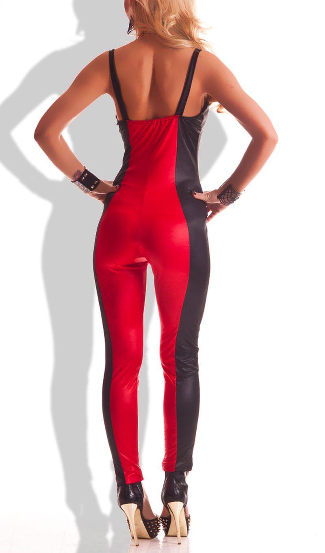 damen overall hose einteiler jumpsuit catsuit anzug schwarz rot s m m l 102 ebay. Black Bedroom Furniture Sets. Home Design Ideas
