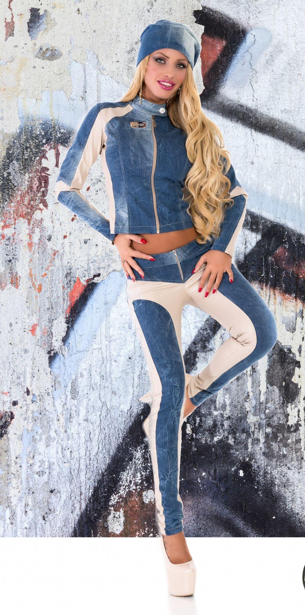 damen kombi set 2 teiler jacke hose r hrenhose h fthose jeans clubware 36 s 454 ebay. Black Bedroom Furniture Sets. Home Design Ideas