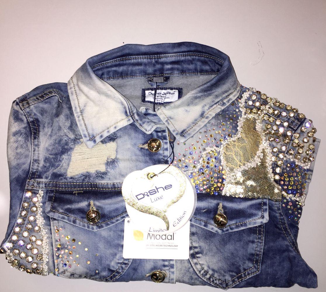dishe handmade jeansjacke damenjacke blazer jeans nietenjacke spitze 34 38 d7 ebay. Black Bedroom Furniture Sets. Home Design Ideas